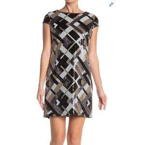 NEW MARINA Short Abstract Pattern Sequin Dress Sz6